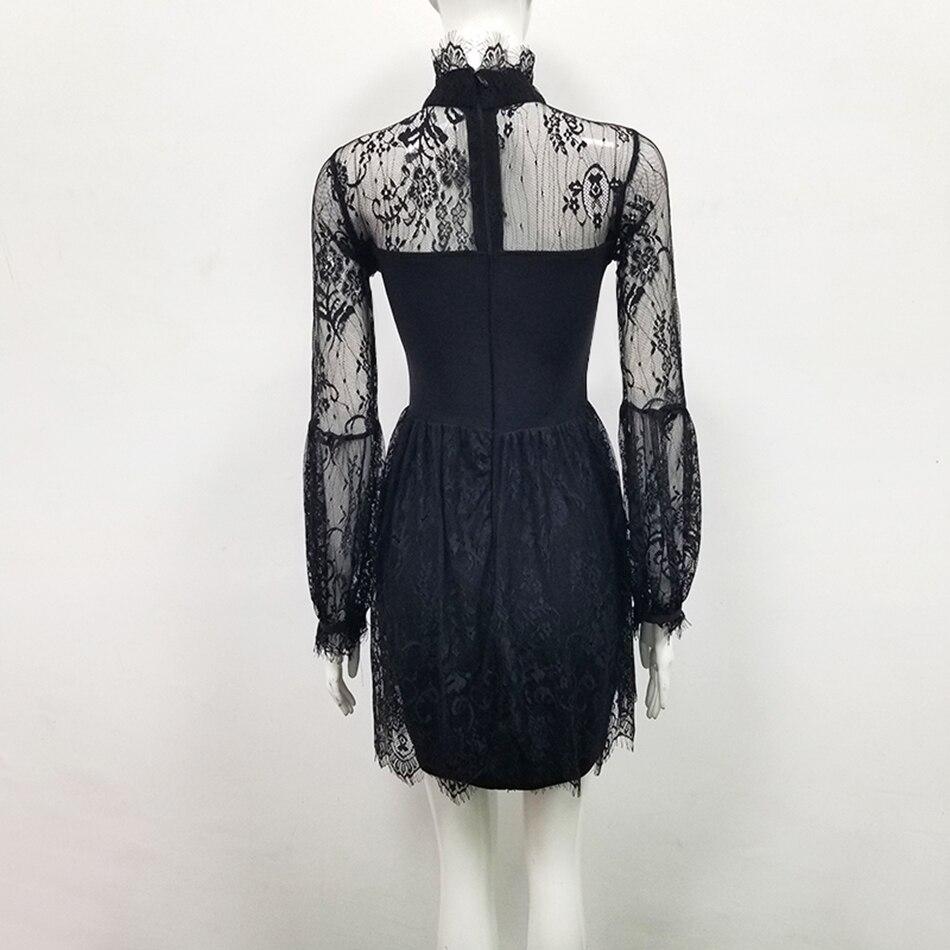 Chic dentelle maille Perspective plissée Mini Robe femmes à manches longues col haut noir soirée Club nuit Robe robes Vestidos - 4