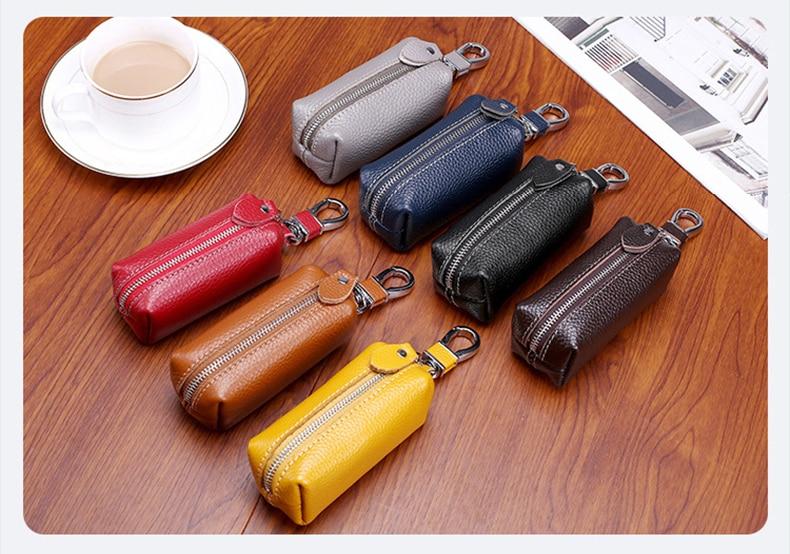 Genuine Leather Women& Men Key Wallet Unisex Car Key Holders Key Case Female Housekeeper Holder Chain Organizer Bag