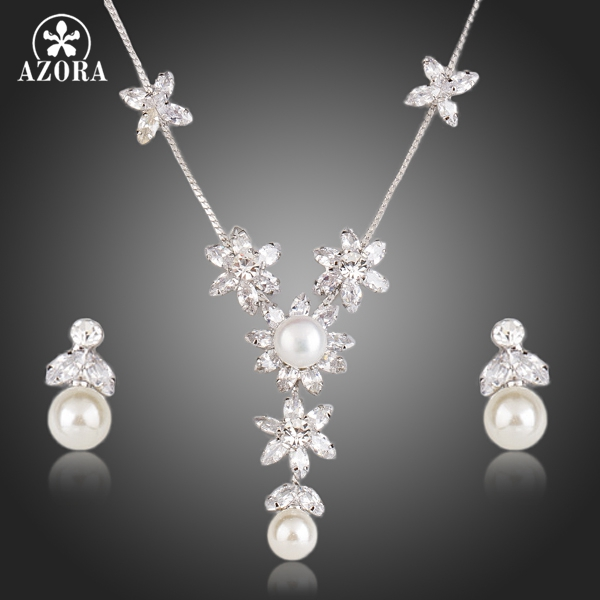AZORA Clear Cubic Zirconia With Pearl Flower Pendant Necklace and Drop Earrings Jewelry Sets TG0162 azora fashion clear cubic zirconia water drop women drop earrings female bending design simple jewelry girls accessories te0321