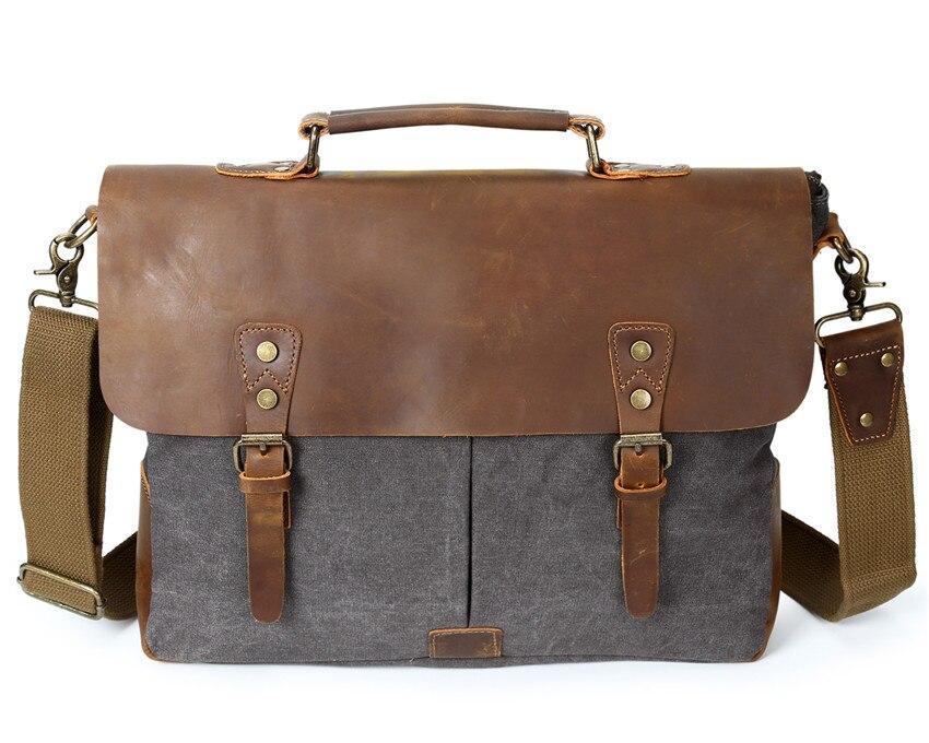G FAVOR Для мужчин Винтаж Холст сумка дорожные сумки ретро школьная HASP Военный стиль Сумочка с Crazy Horse Натуральная кожа