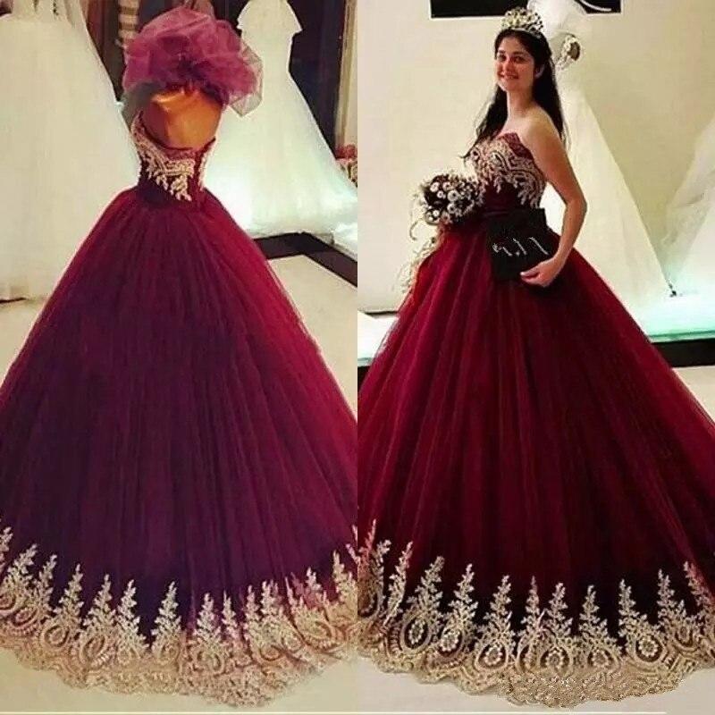 2018 Gold Appliques Burgund Ballkleider Quinceanera Kleider Vestidos De 15 Anos Pageant Party Kleider Tüll Süße 16 Prom Kleider