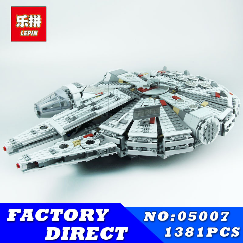 LEPIN 05007 1381Pcs Star Series Wars Millennium Falcon Force Awakening Building Blocks Toys for Children Toys Compatible 10467 ynynoo lepin 05007 star assembling building blocks marvel toy compatible with 10467 educational boys gifts wars