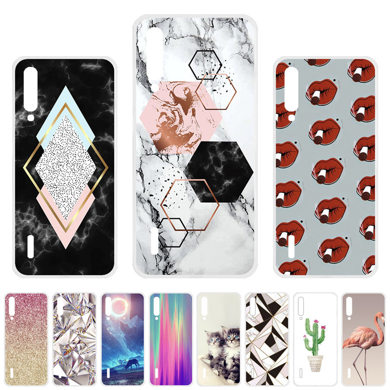 For <font><b>Xiaomi</b></font> <font><b>Mi</b></font> <font><b>A3</b></font> Cases Silicone DIY Painted Coque Xiomi <font><b>Mi</b></font> 9 lite CC9 CC9e <font><b>Mi</b></font> <font><b>A3</b></font> Lite Covers Flower Animal <font><b>Fundas</b></font> Bumper Capa image