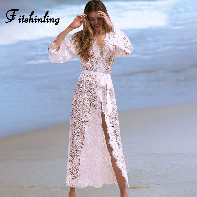 Fitshinling Bohemian white kimono swimwear lace beach cover 2019 summer see through sexy long cardigan female v neck cover-ups