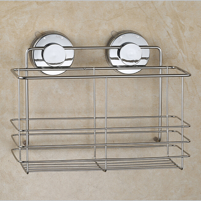 Stainless Steel Non Rust Bathroom Shower Shelf Storage Suction Basket Caddy  (Silver)