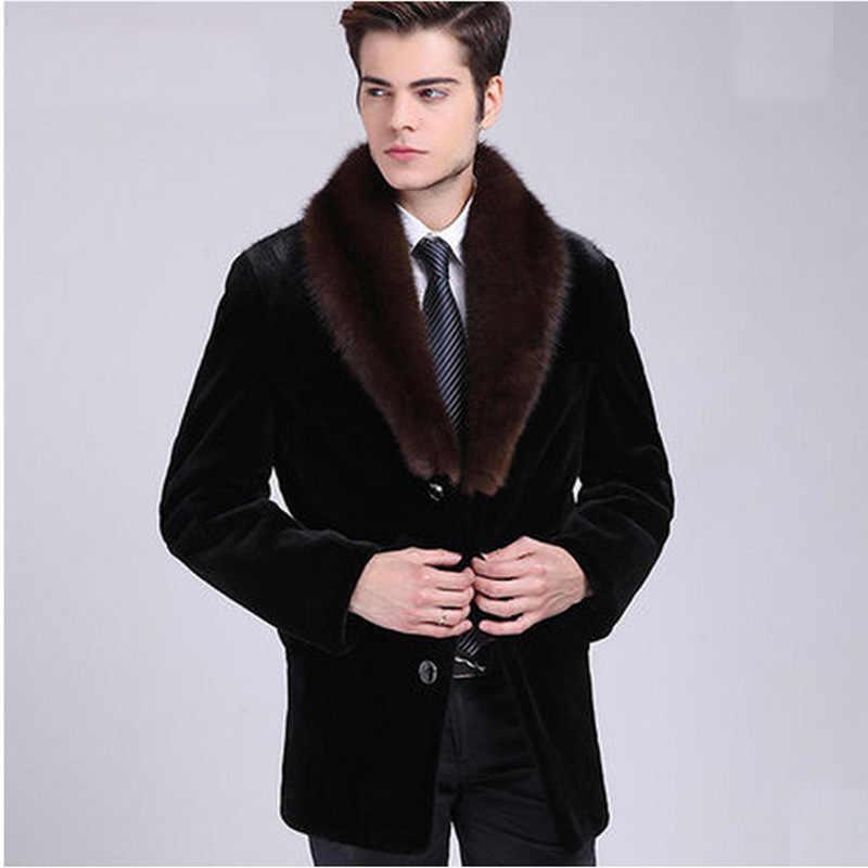 Мужские зимние осенние куртки из искусственной норки с мехом больших размеров, повседневные пальто из искусственного меха с меховым воротником, черные теплые пальто, новинка S/6XL D380