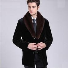 Mens Winter Autumn Fake Mink Fur Jackets Large Size Casual Man-Made Coats Collar Black Warm Overcoats New S/6XL D380