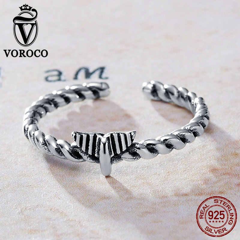 VOROCO วินเทจ Vintage ของแท้ 925 เงินสเตอร์ลิง Hemp เชือกเปิดแหวนนิ้วมือ Unisex เครื่องประดับวินเทจ Vintage VSR064