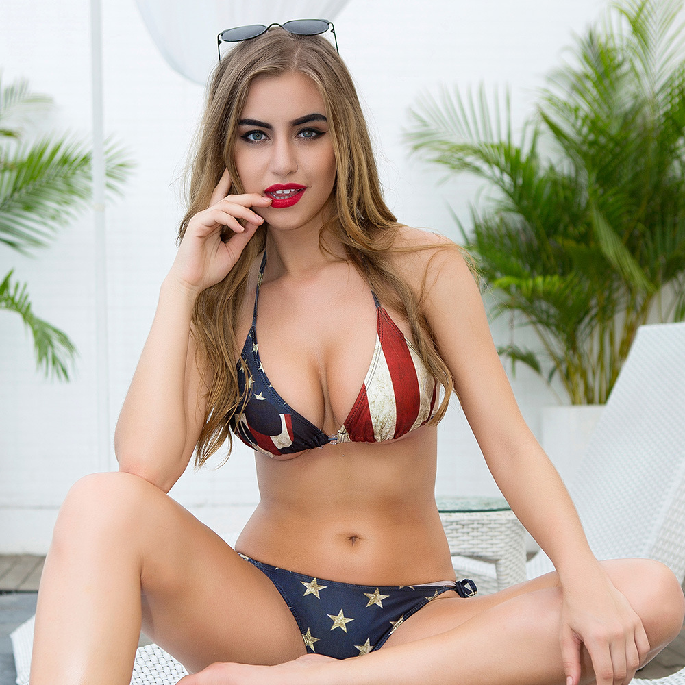 2 piece set women Sexy shorts and bras 2019 Summer American flag prints super bikini suits set ladies Skinny suit twinset Girls in Women 39 s Sets from Women 39 s Clothing