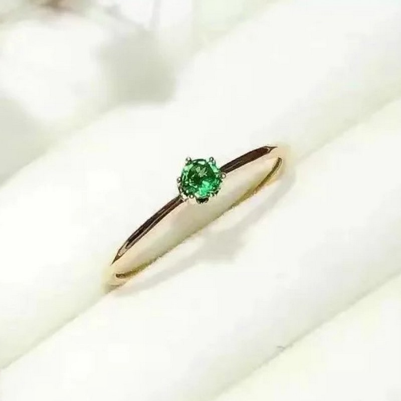 Fidelity Natural Emerald Rings S925 Sterling Silver Natural 3mm Green Gemstone Simple Fashion Fine Jewelry For Women Wedding