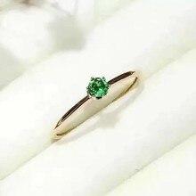 Верность натуральный изумруд кольца s925 серебро натуральный 3 мм зеленый драгоценный камень Простые Модные ювелирные изделия для женщин Свадебные