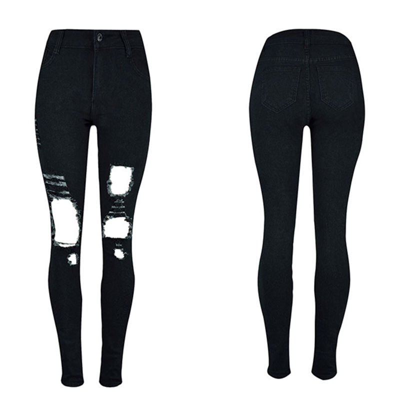 Autumn Spring New Fashion Big Hole Skinny Jeans for Women S-2XL Slim Cool Ripped Jeans Woman with High Waist Black Pencil Pants 2016 new fashion high waist big hole ripped jeans for women slim pencil pants full length black clp052