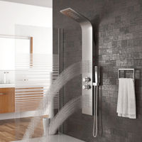 Bathroom LED Waterfall Faucet Mixer Valve Shower Set with Rainfall Hand Shower Panel With Handle Spray Tap HWC