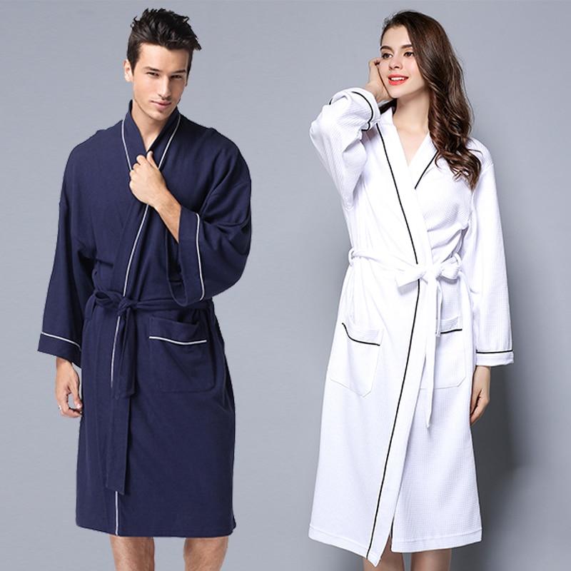 Summer Couple Waffle Knit Cotton Bathrobe Men Women Big Size Bridesmaid Robes Unisex Dressing Gown Lovers Kimono Pajama Robes in Robes from Underwear Sleepwears