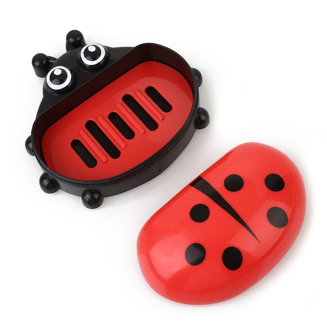 Cartoon Ladybug Portable Soap Dishes With Cover Soap Box Case Holder Leak-proof Bathroom Accessories