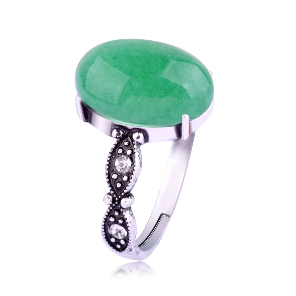 New Fashion Charm Women Antique Silver Plated Retro Green Ring Jewelry