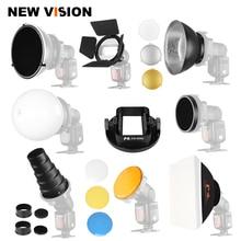 Blinkt Zubehör Softbox Scheune Tür Beauty Dish Weichen Ball Konische Snoots Standard Reflektor für Canon Godox Yongnuo Blinkt