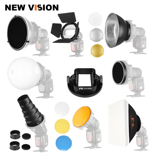 Flashes Accessories Softbox Barn Door Beauty Dish Soft Ball Conical Snoots Standard Reflector for Canon Godox Yongnuo Flashes