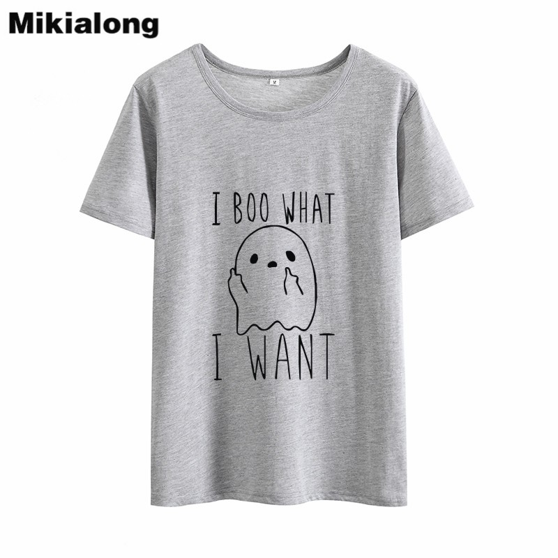 Mikialong I Boo What Kawaii Funny T-shirt Women Summer 2018 Cotton Tshirt Women Black Printed Tumblr Camisetas Mujer Tops