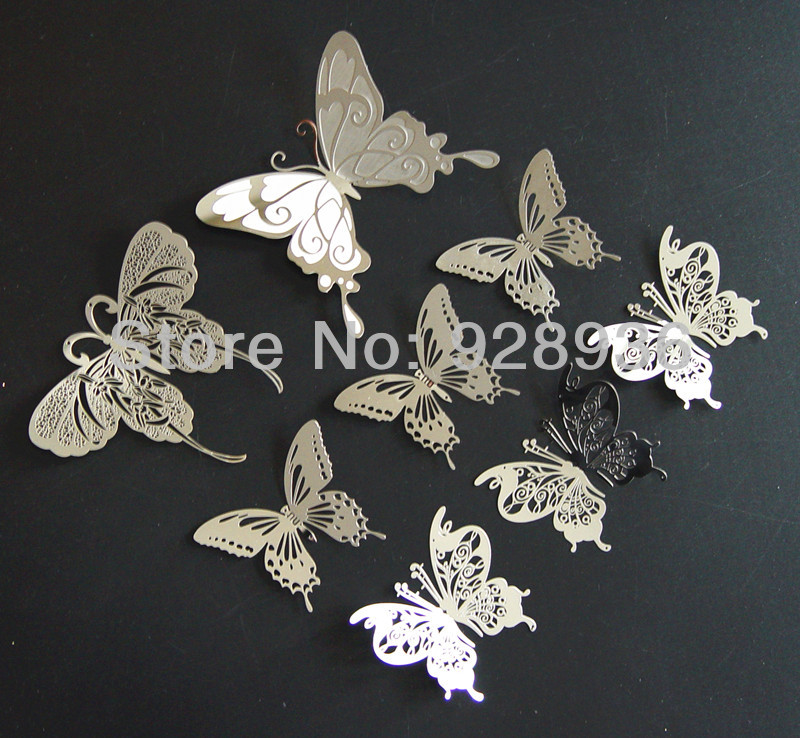 Big set 8pcs (4items) 3D butterflies wall stickers metal ...