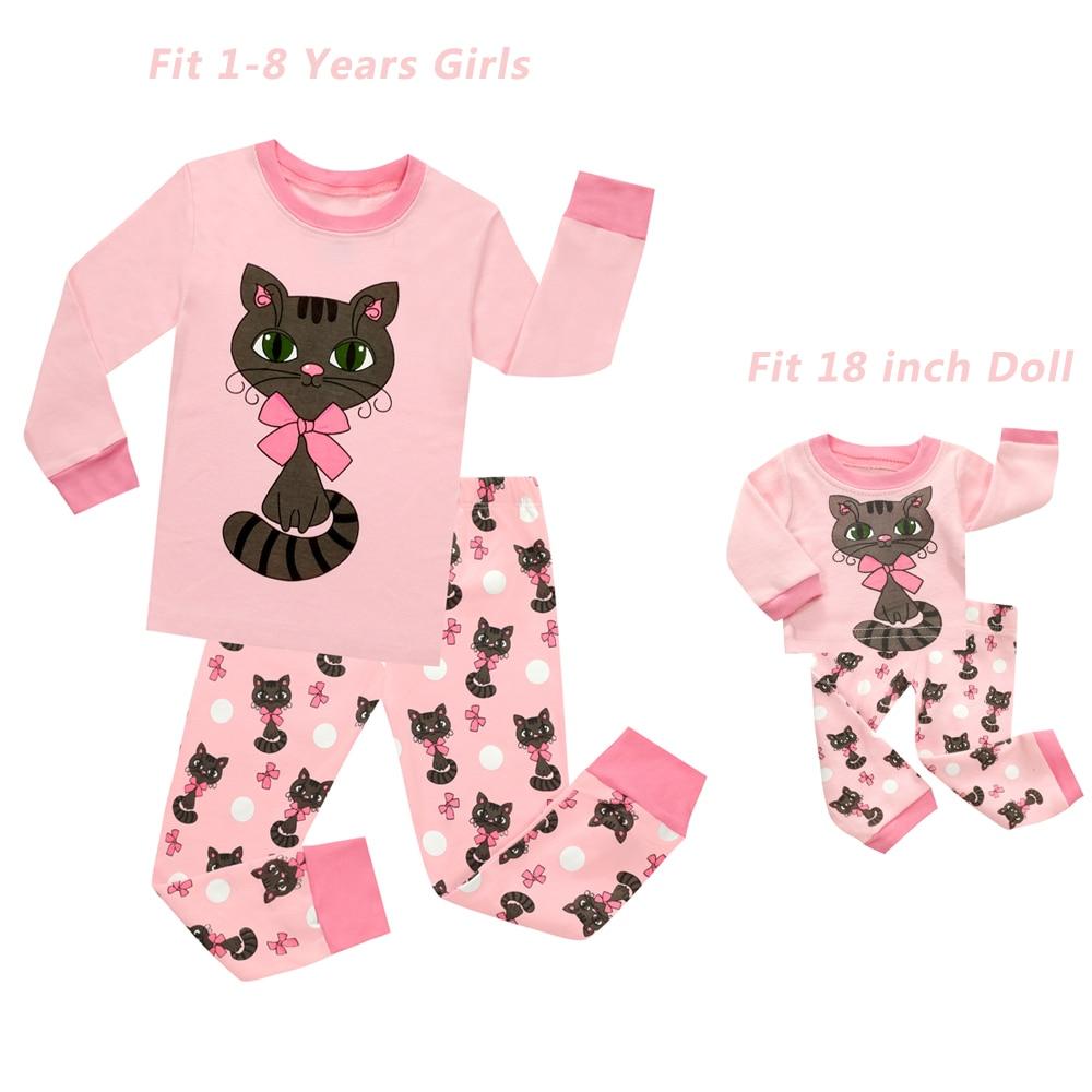 Baby Girls And 18 Inches Doll Matching Pajamas Sets Girls Pijama Infantil Kids Girl Baby Girl Clothes Cat Cartoon Animal Pyjamas