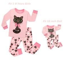 Одинаковые пижамные комплекты для маленьких девочек, размер s и 18 дюймов пижама для девочек, infantil, детская одежда для маленьких девочек пижамы с рисунками животных из мультфильмов, кошек