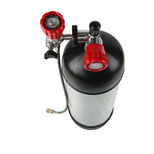 2017 NEW Full set 9L 4500psi Compressed Air Carbon Fiber SCBA Tank Cylinder for air gun hunting+red gauged valve+filling station