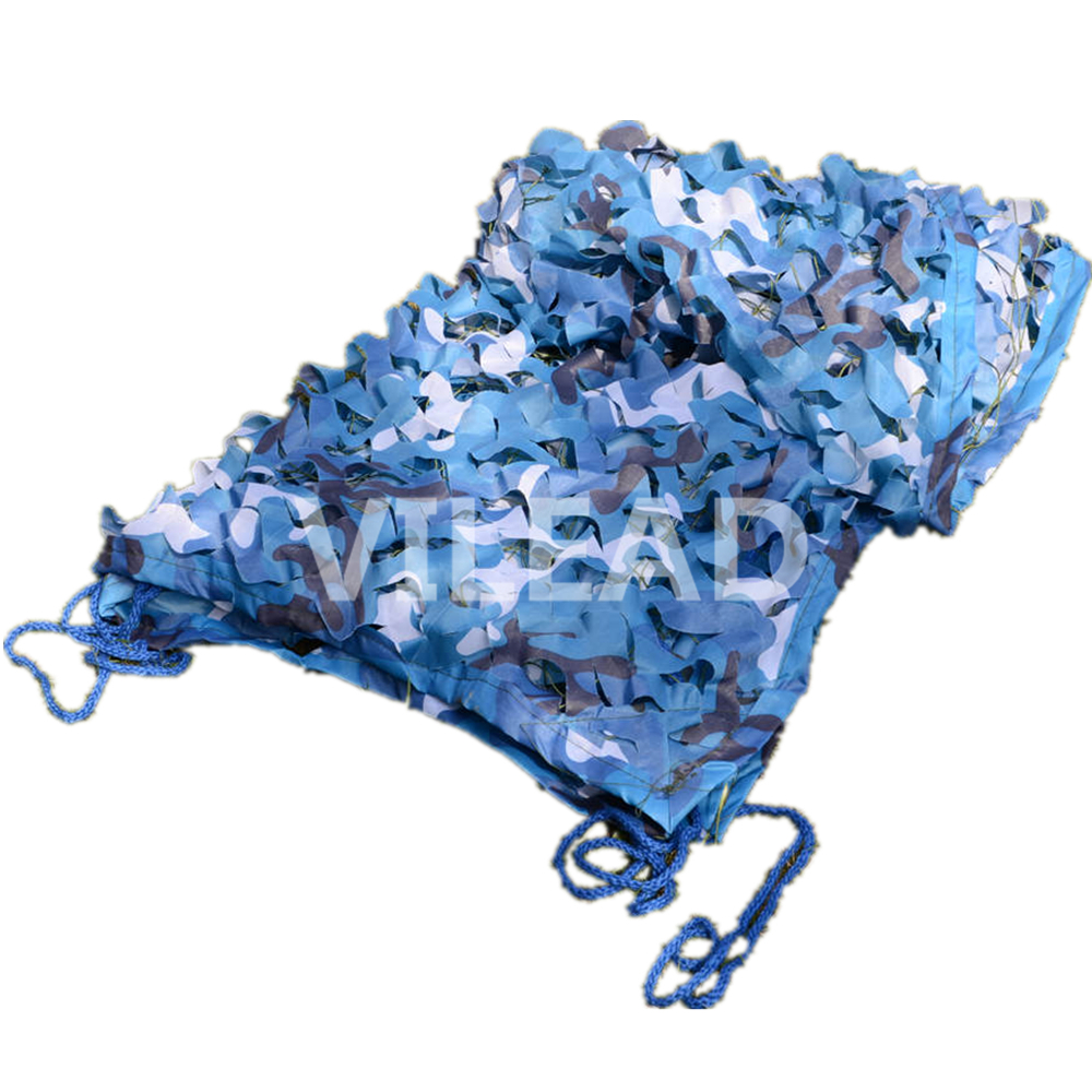 VILEAD 2M*10M Blue Filet Camouflage Netting Camo Netting Protection for Military Shelter Camping Canopy Outdoor Pool Covers 5m 9m filet camo netting blue camouflage netting sun shelter served as theme party decoration beach shelter balcony tent