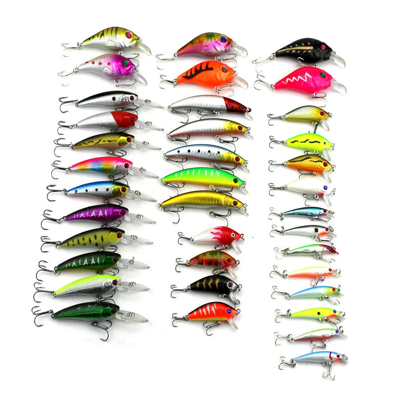 CALOFE 37PCs/Set Artificial Bait Crankbait Combination Fishing Hook Fishing Lure 3D Eyes Hard Baits Fishing Tackle Lure lifelike minnow fishing lure 1pcs 9 5cm 11 2g high quality treble hook artificial hard bait treble hook crankbait with 3d eyes