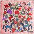 2016 Nova Marca de Luxo Inverno Cachecol de Lã Cashmere Lenço Quadrado Espanha Cavalo Rose Flor Imprimir Mulheres Xales Lenço Envoltório Hijab