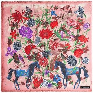 Image 3 - POBING יוקרה מותג חורף צעיף קשמיר כיכר צעיפים ספרד סוס עלה פרח הדפסת מטפחת נשים צעיפי גלישת חיג אב 130CM