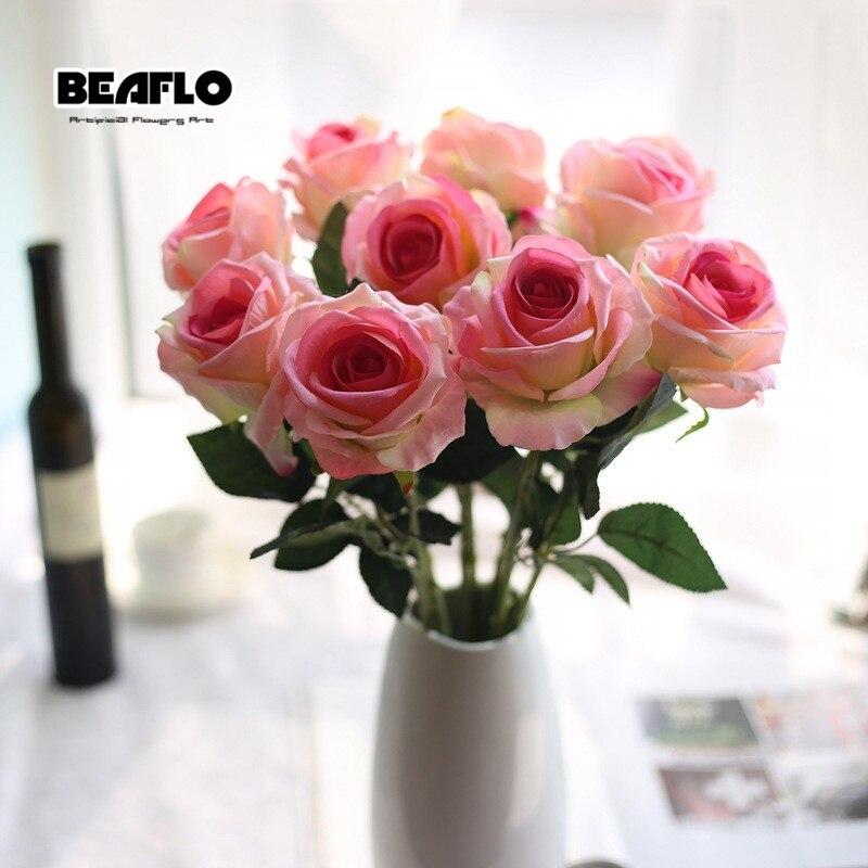1pc Konstgjord blomma Fresh Rose Silk Floral Real Touch för Home - Semester och fester