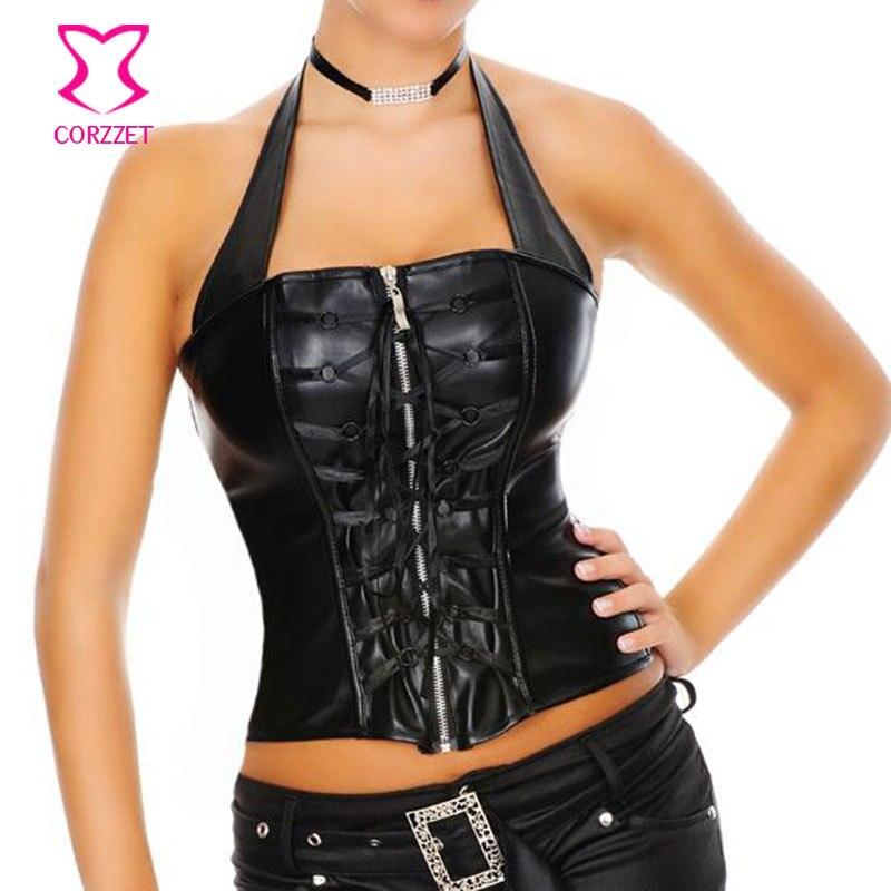 Burlesque Black Faux Leather Halter Tops Lace Up and Zipper Waist Trainer Punk Rock Bustier Corset Women Sexy Gothic Lingerie