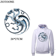цена на ZOTOONE Dragon Patches For Clothing Iron-on Transfers New Design DIY T-shirt Thermal Transfer Patch For Clothing Heat Press D