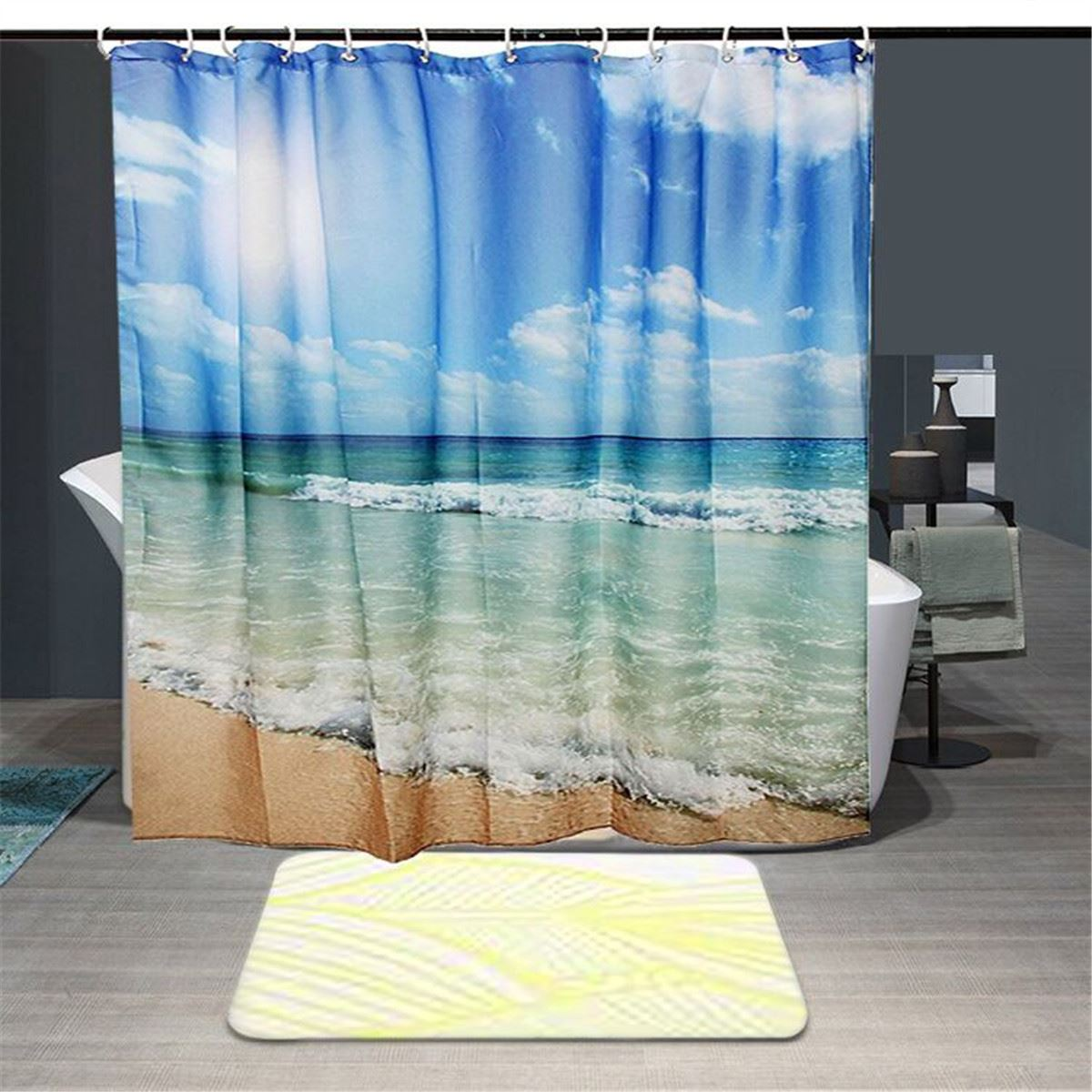 Polyester Sea Beach Waterproof Shower Curtain Shower Bath Screen ...