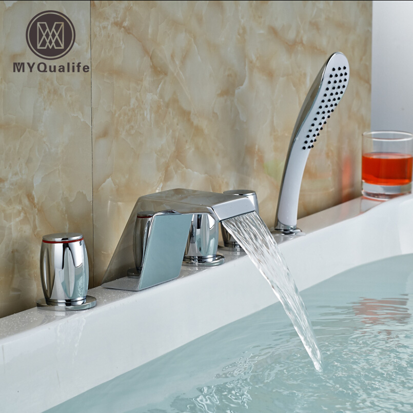 Chrome Brass Three Handles Waterfall Tub Shower Faucet with Hand Shower Deck Mount 5pcs Bath Shower Mixer Taps wholesale and retail promotion deck mounted chrome brass waterfall spout bathroom tub faucet w hand shower