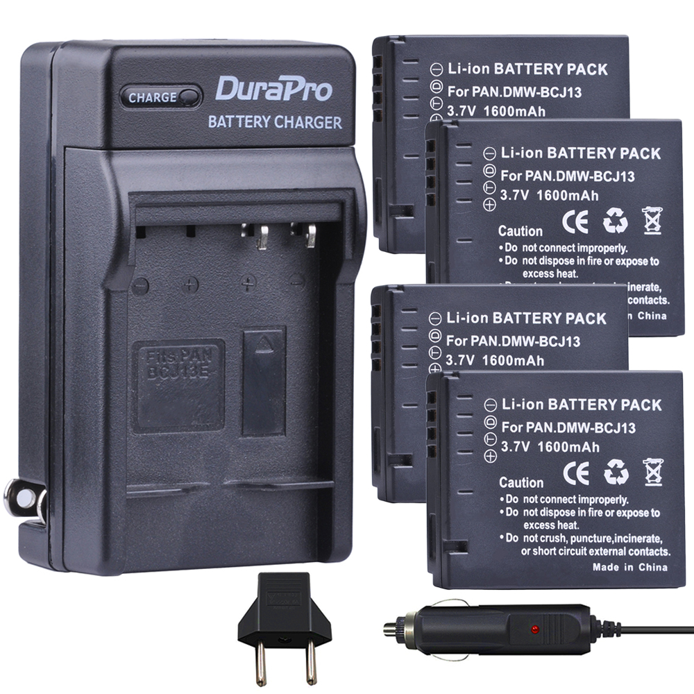4pc 1600mAH DMW-BCJ13 DMW BCJ13 Rechargeable Li-ion Battery + Car Charger + EU Plug For Panasonic DMC LX5 LX5 LX5GK LX5K LX5W maxell er17 33 non rechargeable 3 5v 1600mah battery
