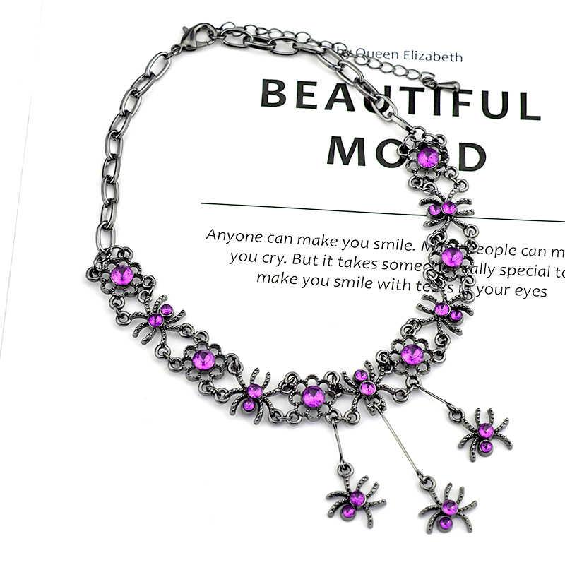 Necklace Gothic Spider For Women Choker Purple Rhinestone Short Chain Premium