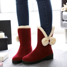2016 Winter Women's Mid-calf Snow Boots Sweet Bowtie Antiskid Flats Female Cold Weather Footwear Botas de Neve Feminina Botines