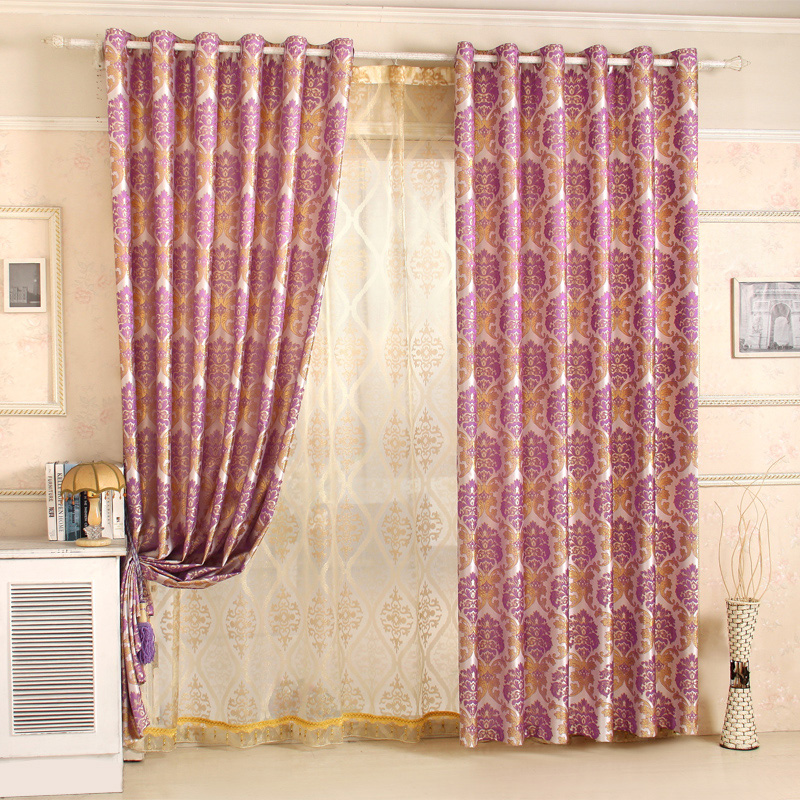 Promotion!Upscale European Gold silk jacquard eyelet curtain for ...