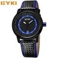 Eyki hombres relojes deportivos relogio masculino hombres reloj de cuarzo resistente al agua de cuero grande dial lujo de la marca reloj de pulsera para hombre relojes