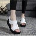 Mulheres Sandálias de Couro Genuíno Sapatas do Verão da Plataforma do Salto Grosso Sandálias Plataforma Do Dedo Do Pé Aberto Cunhas Sapatos Plus Size 34 das Mulheres-42