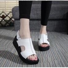 Frauen Sandalen Aus Echtem Leder Plattform Starke Ferse Sommer Schuhe Offene spitze Sandalen Plattform Keile frauen Schuhe Plus Größe 34-42