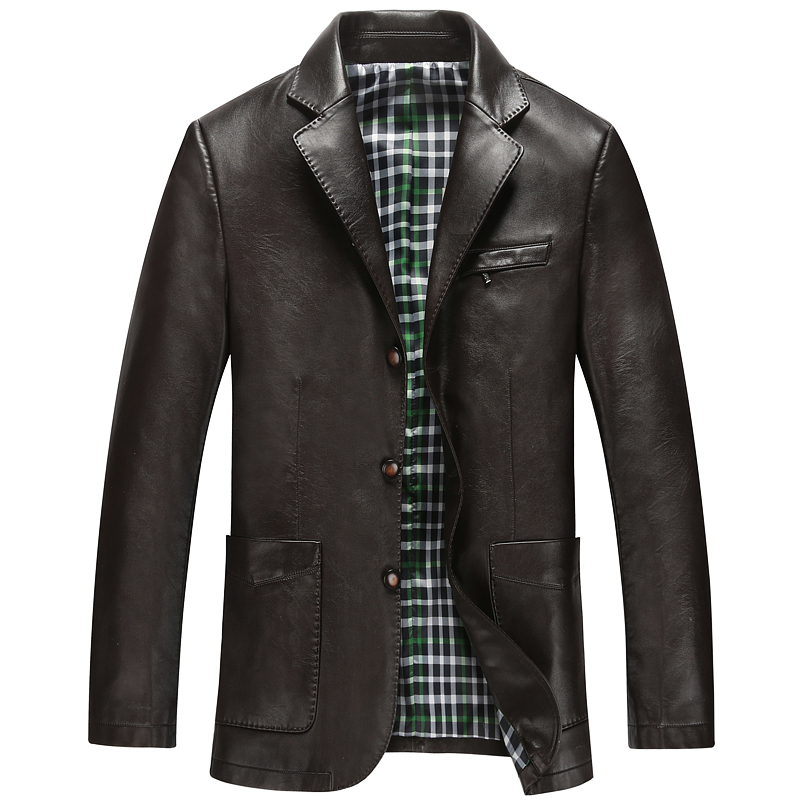 Free Shipping!fall 2015 New Men's Skin Suit High Quality Male Sheep Pipi Jacket Classic Men's Leather Coat  Leather JacketM-XXXL