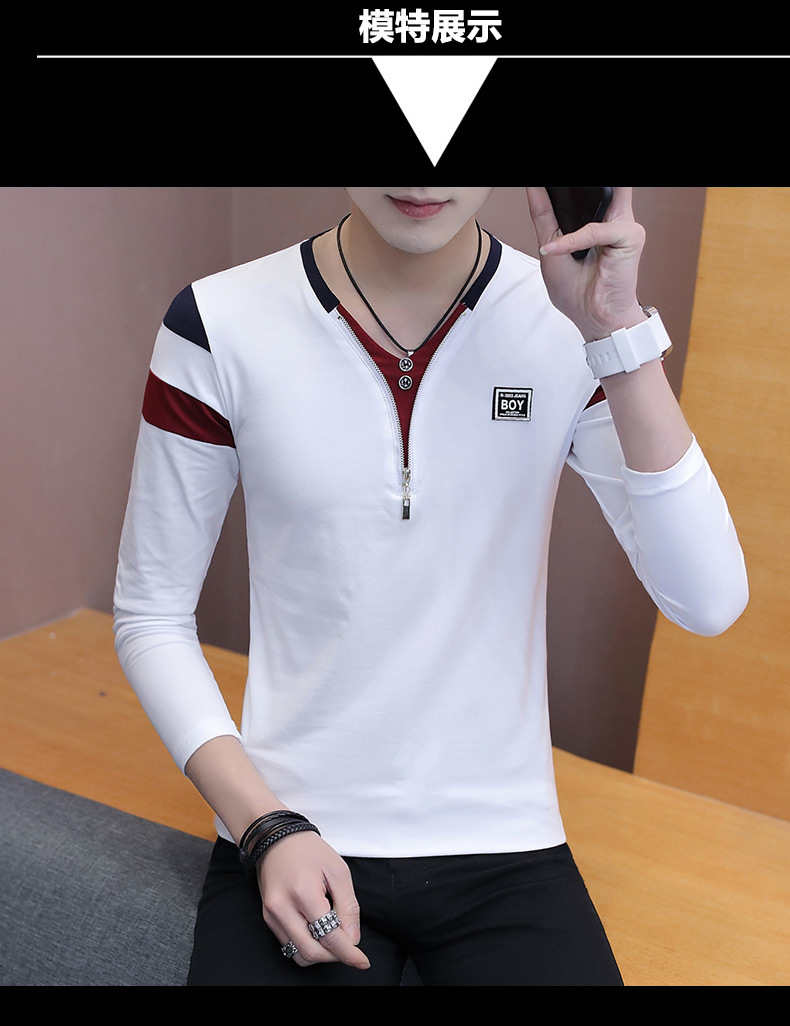 2019 Spring T-Shirt Men Long Sleeve Casual Zipper T Shirts Self-cultivation Design Simple T Shirt Brand New Round Neck Homme 12
