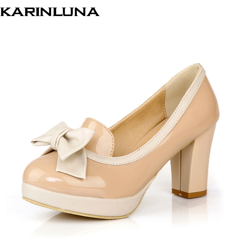 Karinluna Size 34-43 Women Platform Pumps Fashion Sweet Bowtie Vintage Chunky High Heels Party Wedding Prom Shoes plus size 34 43 new platform flat shoes woman spring summer sweet casual women flats bowtie ladies party wedding shoes