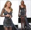 2016 Cuentas de Encaje Venta Caliente Gossip Girl Moda Blake Lively Vestidos de La Celebridad de La Moda Vestido de Noche de Famosos Vestidos de la Alfombra Roja