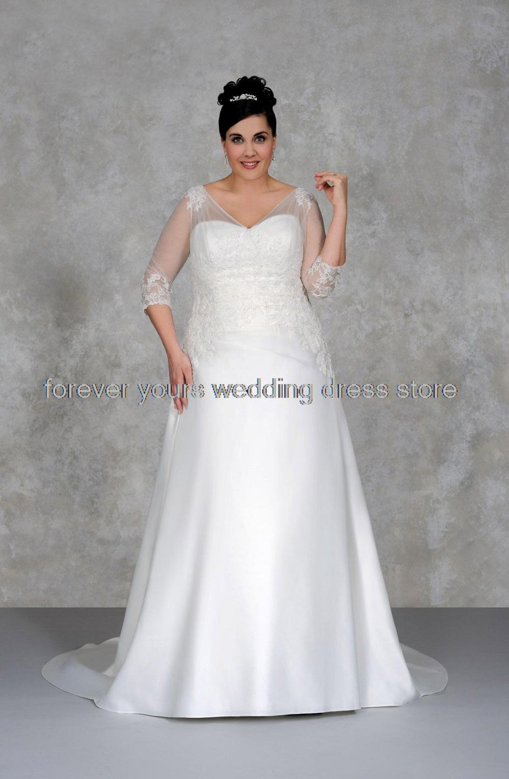 3 4 sleeve V Neck appliques long bridal gown vestido de novia plus size  romantic plus size wedding dress 2015 NT 096-in Wedding Dresses from  Weddings ... e6e328bc687e