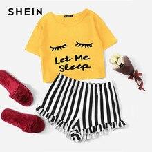 SHEIN Ginger Graphic Tee i falbany szorty w paski piżamy dla kobiet wokół szyi z krótkim rękawem 2019 piżama na lato zestawy bielizna nocna