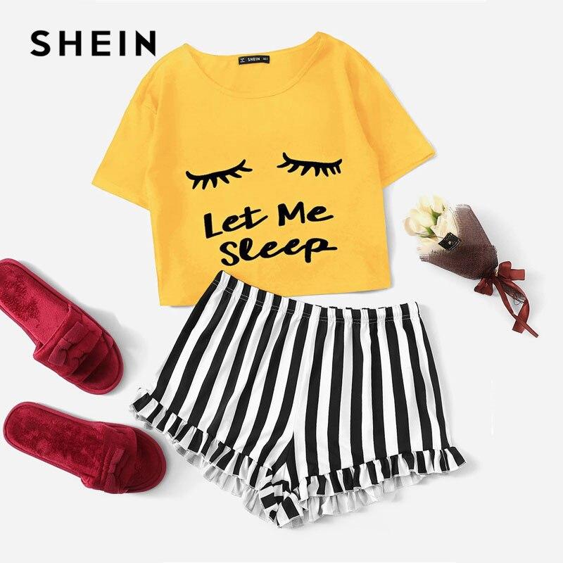 SHEIN jengibre gráfico Tee y volantes pantalones cortos a rayas pijamas para mujeres de cuello redondo de manga corta de verano de 2019 conjuntos de pijama Pijamas